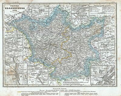 1849 Meyer Map of the Provice of Brandenburg, Germany
