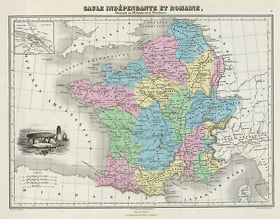 1878 Migeon Map of France during Ancient Times