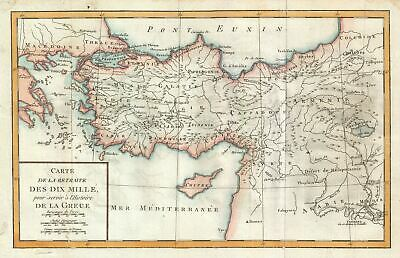 1770 Delisle de Sales Map of the Retreat of the Ten Thousand Greeks