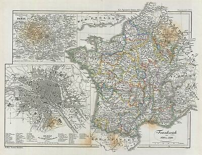 1854 Spruner Map of France from 1610 to 1790