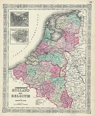1865 Johnson Map of Holland and Belgium