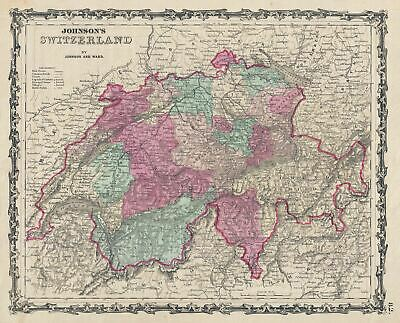 1863 Johnson Map of Switzerland