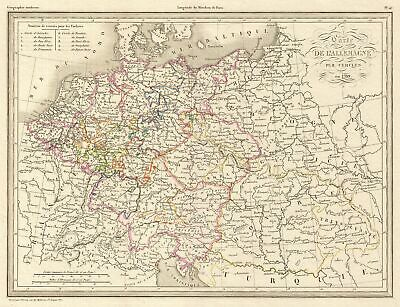 1839 Malte-Brun Historical Map of Germany and Poland