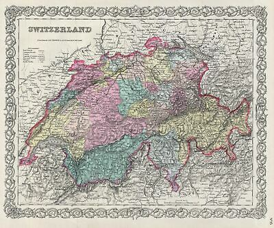 1856 Colton Map of Switzerland