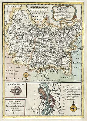1747 Bowen Map of Southwest Germany with France and Luxemburg