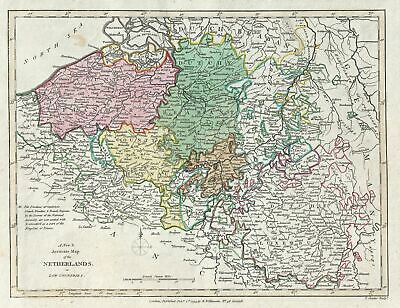 1793 Wilkinson Map of Holland or the Netherlands, Belgium and Luxembourg