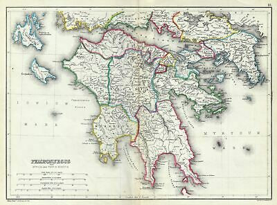 1867 Hughes Map of the Peloponnese Peninsula or Southern Greece in Antiquity