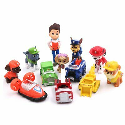 Paw Patrol Ryder 6 Pups 5 Vehicles Action Figure 12 pcs Cake Topper Kid Gift Toy
