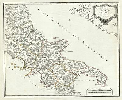 1750 Vaugondy Map of Northern Naples in Southern Italy