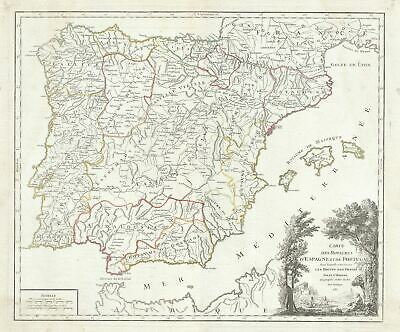1750 Vaugondy Map of Spain and Portugal