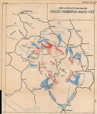 1950 Serbian Battle Map of the Fifth Enemy Offensive During World War II