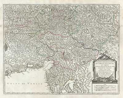 1752 Vaugondy Map of Southern Austria, Italy and Slovenia