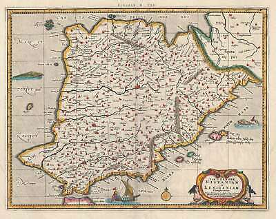 1730 Mercator / Hondius Ptolemaic Map of Spain and Portugal