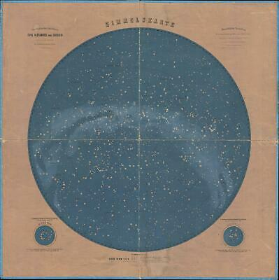 1875 Pitschner Map of the Night Sky in Central Europe