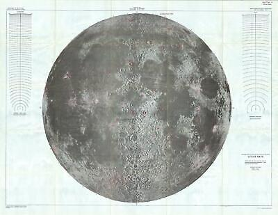 1961 U.S.G.S. Lunar Ray Map of the Moon (wall map) - landmark Lunar map!