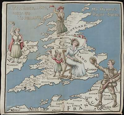 1914 World War I Pictorial Cloth Handkerchief Map of the British Isles