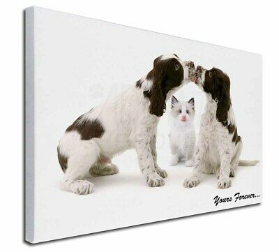 """Dogs and Cat 'Yours Forever' 30""""x20"""" Wall Art Canvas, Extra Large, AD-SC57-C3020"""