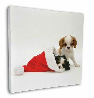 """Christmas King Charles 12""""x12"""" Wall Art Canvas Decor, Picture Print, AD-SKC8-C12"""