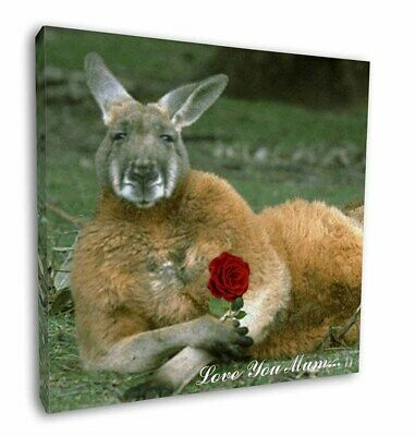"Kangaroo+Rose 'Love You Mum' 12""x12"" Wall Art Canvas Decor, Pictur, AK-1Rlym-C12"