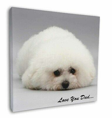 "Bichon Frise 'Love You Dad' 12""x12"" Wall Art Canvas Decor, Picture , DAD-166-C12"