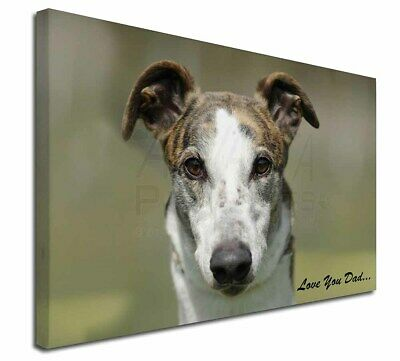 "Greyhound Dog 'Love You Dad' 30""x20"" Wall Art Canvas, Extra Large , DAD-36-C3020"