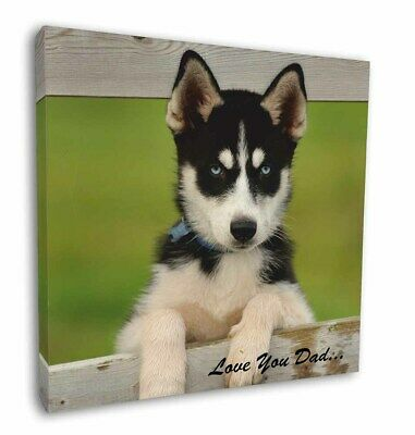 "Husky Pup 'Love You Dad' 12""x12"" Wall Art Canvas Decor, Picture Prin, DAD-56-C12"