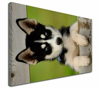 "Husky Pup 'Love You Dad' 30""x20"" Wall Art Canvas, Extra Large Pict, DAD-56-C3020"