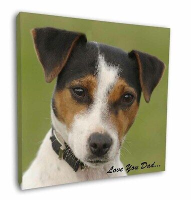 """Jack Russell 'Love You Dad' 12""""x12"""" Wall Art Canvas Decor, Picture P, DAD-60-C12"""