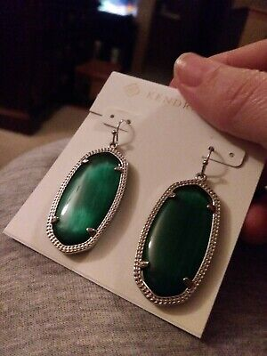 46701d58b Authentic Kendra Scott ELLE Silver Drop Earrings in Emerald Cat's Eye