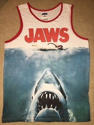 JAWS movie 2 3 GREAT WHITE shark HORROR Vintage Retro MEN'S New TANK TOP T-Shirt