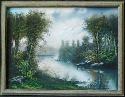 "Antique 19th Century American Pastels Painting ""Landscape"""