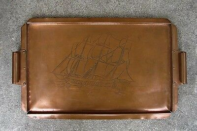 """ARTS & CRAFTS COPPER TRAY ~ RIVETED HANDLES ~ EARLY 20th c. ~ 18 ¾"""""""