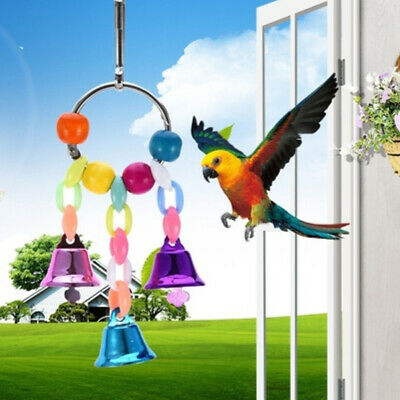 Novel Bird Parrot Toy Hanging Swing Cage Rope Pet Chew Bell Feeder Budgie Toys