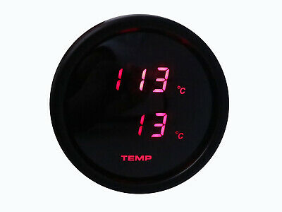 52mm Dual Water Oil Temp/Temperature Gauge Digital Meter Red LED Smoke Lens C