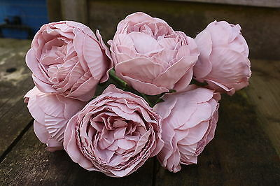 6 x LIGHT VINTAGE PINK COLOURFAST FOAM PEONY ROSES 9cm  WEDDING BRIDAL