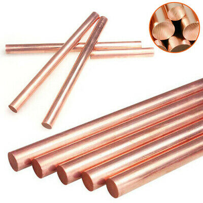 99.9% Pure Copper Round Rod Bar Metal Length 100mm 150mm 250mm Dia 3mm - 10mm
