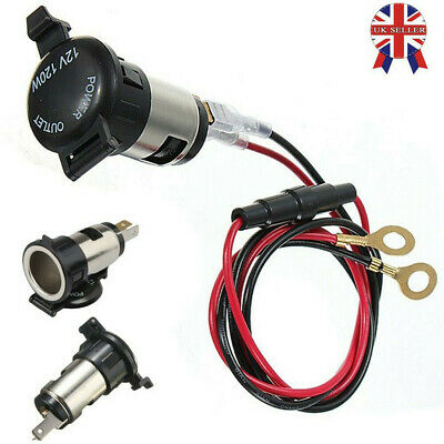 12V Waterproof Car Cigarette Lighter Socket Charger Power Adapter Cable Fuse
