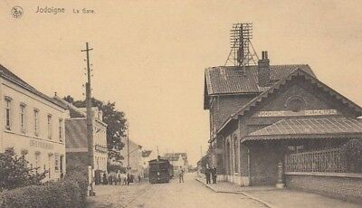 Reproduction photo d'une carte postale de la gare de Jodoigne