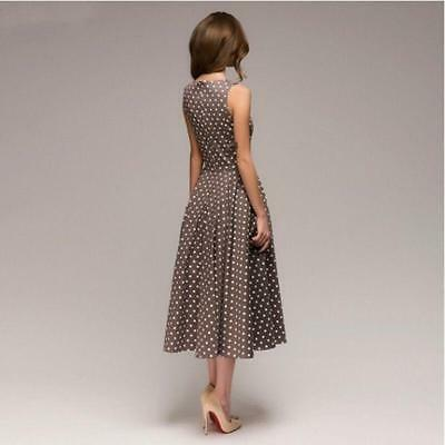 Women Sleeveless O-Neck Strappy Polka Dot Dress Summer Beach Sundress LA