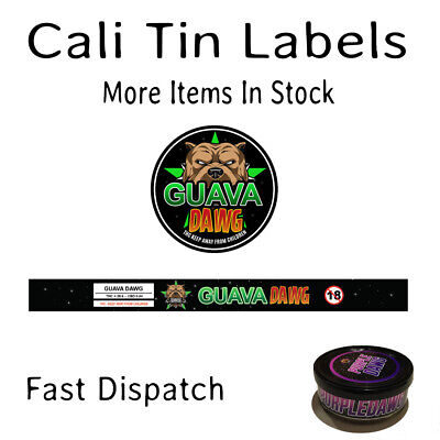 GUAVA DAWG 100ML PRESSITIN LABELS (Cali/Tuna Tin Stickers - 10 CAN PACK)