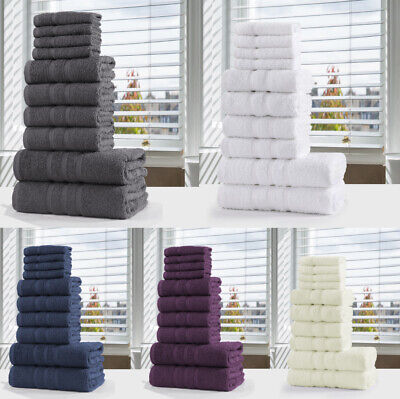 10 Piece Towel Bale Set 100% Egyptian Cotton Soft Face Hand Bath Bathroom Towels