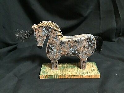 Vintage Handcarved Wood  Horse Painted Folk Art Horse Handmade Collectible