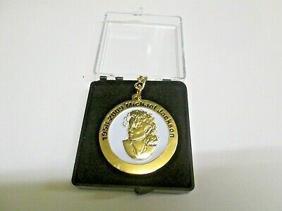 Michael Jackson Key Ring Gold Plated Metal -White- in Presentation/Gift Box