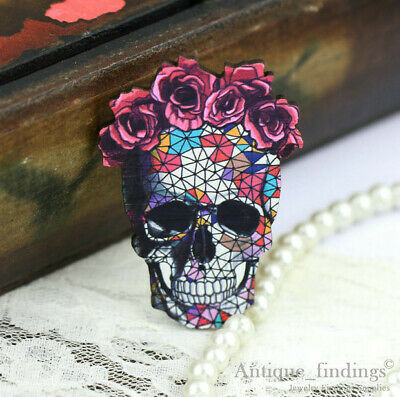 4pcs Handmade Wood Wooden Sugar Skull Charms / Pendants HW019C