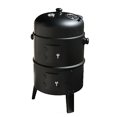 Upright Outdoor Bbq Smoker Charcoal Barbecue Grill Garden Cooker Patio Drum Oven