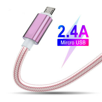 Braided Fast Charge Micro USB Charger Data Sync Charging Cable Lead Phone Wire