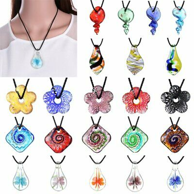 Charm Handmade Lampwork Murano Glass Flower Leaf Pendant Necklace Jewelry Gift
