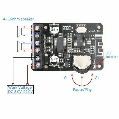 12V/24V Stereo Bluetooth High Power Digital Power Amplifier Module 10W/15W/20W