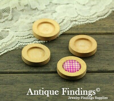 10pcs 16mm Antique Wooden Wood Cameo Base Setting / Tray HW716C