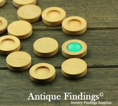 10pcs 12mm Antique Wooden Wood Cameo Base Setting / Tray HW715C